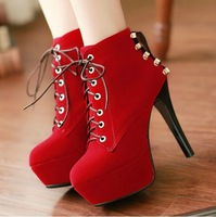 Boots for Women 2013 Spring & Autumn Fashion Thin High Heels Ankle Boots, Heel 12,Waterproof 4,Plus size, Free Shipping