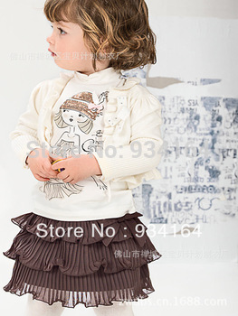 2014 New Arrival Three-piece Child Girl Suit Long Sleeve Shawl+Cute Girl T shirt+Layered Mini Dress Children Girl Suit