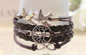 Free shipping! The Tree of Life Style Bracelets For Women Retro Bracelets Birds Alloy Bracelets Jewelry Fittings