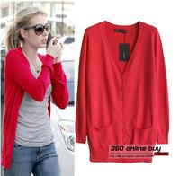 Hot fashion! European trendy 2014 fall fashion medium-long love heart shaped button knitted cardigan sweater for women