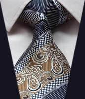 "TFS007Z Brown Blue  Floral Stripe  100%  Silk 3.4"" New  Jacquard Woven Classic Man's Tie Necktie"
