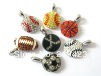 FREE SHIPPING! 20pcs mixed style sportsball Hang Pendant Charm Fit Diy Phone Strips Wristband & Necklace