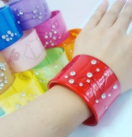 Sale!! 3pcs/lot  women's Wide acrylic arm bracelet bangle cuff with stones  4.5cm wide dia. 6.0cm