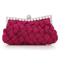 Bags women's handbag red bridal bag to marry bag knitted rhinestone women's day clutch evening bag banquet rhinestone wallets