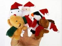 CT0042 wholesale 100pcs/lot 7CM*3CM hotsale 2013 new 5p/set Santa Finger Puppet  toys new gift Toys Factory direct sale