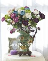 High Quality European three heads decoration camellia,w/Silk Leaf, decoration Flower