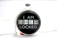 10pcs/lot Sherlock Holmes 'I Am SHER Locked' Black Necklace Glass cabochon necklace