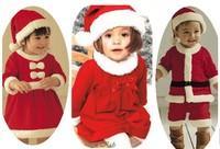 Happy Christmas Children Suit Baby Boys Girls Santa Jumpsuit girls Bow dress + Hat 2pcs Set Girls Christmas Dress free shipping
