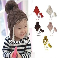 Free shipping,Stripe plus velvet children ear protectors cap, wool cap hanging ball,Children's knitted hats(5 colors)  cool hats