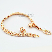 6pcs/lot Fashion Jewelry Women Girls Braided Link Chain Bell 18K Rose Gold Filled Bracelet Gold Jewellery Free Shipping GFB114