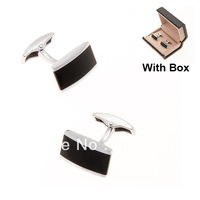 1 Pair 2013 NEW Fashion Classic Black Men cufflinks with box ties high quality CFG001