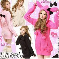 Girls Lovely Fleece Casual Jacket,  Cute Rabbit Ear Hooded Autumn Outerwear Small Coat