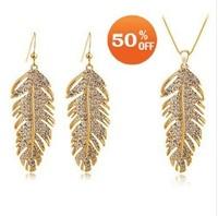 Fashion 18k Gold Plated Feather Design rhinestone women austrian crystal bride wedding Jewelry Sets