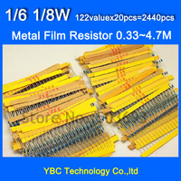 1/6W 1/8W Resistor 122valuesX20pcs=2440pcs 0.33R~4.7M Metal Film Resistor Kit Resistor Pack for DIY  Free Shipping