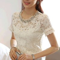 S,M,L,X,XL,XXL white Fashion trend hot sale New Women summer lace shirt sweet elegant beading short-sleeve shirt slim lace 2013