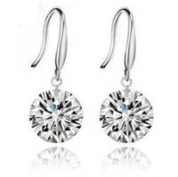 Free Shipping (Min.order $8)Promotion High Quality 925 Silver/Crystal Earring Silver Earrings Wholesale Fashion Jewelry