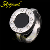 Size 6-9 18K White Gold Plated  Black Stone Ring Women Jewelry