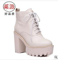 2014 women's round toe autumn winter lace up thick high heeles high upper cool ol trend of genuine leather ankle boots 2993