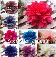 "4"" Soft Silk Flowers Hair Fabric Flowers Fluffy Flower Head 30pcs/lot  AngelBaby headwear free shipping wholesale"
