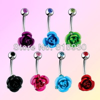 Wholesale - Mixed Colors Metal Rose Flower Belly Button Rings 316L Surgical Steel Fashion Belly Bar Body Jewelry Free Shipping