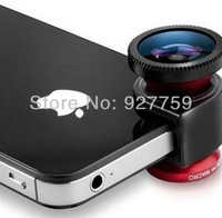 Mobile Phone Camera Lens for iPhone 4 4S Fish Eye Wide Angle and Macro 3-in-1 Lens