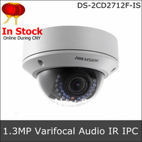 H.264 PoE Module Hikvision Night Vision Fix Lens Outdoor Network Dome CCTV Camera IP DS-2CD2712F-IS, Support Audio