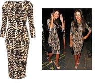 Fashion leopard print sexy hip slim half sleeve slim one-piece dress q14