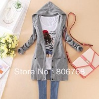 Free Shipping Women's Candy Color Hooded Long Style cardigan lady long sleeve casual Sweater Coat