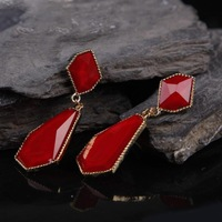 Women OL Lady Girls Black/Red/Blue Big Size Acrylic Gem Geometry Earrings Ear Rings Ear Pendants  Earbob,