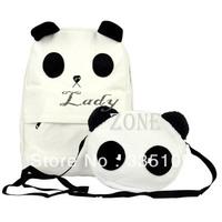 New Fashion Korean Style Lovely Panda Design School Canvas Backpack Set , Shoulder Bag ,Mother+Baby Handbag Set 6299