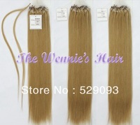 Wennie's Best Quality 18# Micro Bead Loop 100% Brazilian Remy Human Hair Extension 22'' Blonde Brown 1g/s 100g/pack Free Ship