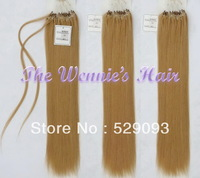 Wennie's Best Quality 27# Micro Bead Loop 100% Brazilian Natural Remy Human Hair Extension 22'' Golden 1g/s 100g/pack Free Ship