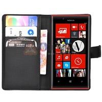 1Pc Black Flip Folio Wallet PU Leather Case Cover For Nokia Lumia 720 Case+Free Shipping