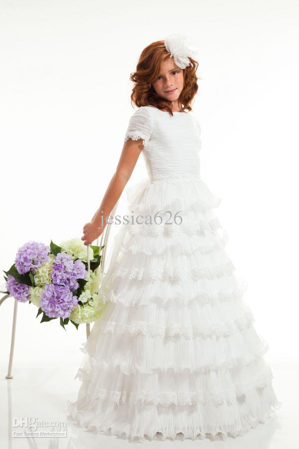 Wholesale modern a line princess flower girls dresses jewel short