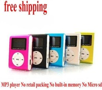 FREE shipping Mini Clip gift MP3 music Player With LCD Screen support TF card up to 32GB