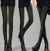 Wholesale/Retail Sexy Lace Leggins Women Slim Causal Pencil Pants For Autumn Free Shipping 5Colors