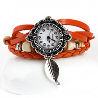 New Arrival High Quality Leaf pendant handmade Leather Vintage Watch,bracelet Wrist watches,Free Shipping Dropshipping