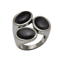 Free Shipping 18K White Gold Plated Black Stone Ring For MEN