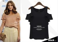 2013 Europe new fashion models wild range of solid round neck sleeveless shoulder leakage shirt  Blouses & Shirts   0023#