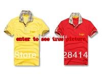 men's british style tartan design classic knight brand logo cotton t shirt short sleeve embroidery  golf shirt size M LXLXXL