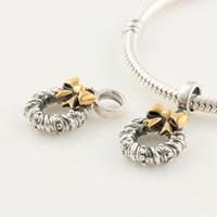 925 Sterling Silver Christmas Flower Wreath Garland Dangle Slider Bead with Golden Bowknot, Fit for Pandora Bracelet SKJ0068
