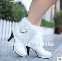 2013 new fashion high heel fur boots Knight / metal buckle boots fine with women's boots / shoes
