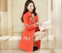 Free Shipping 2014 Autumn Korean Fashion Women's Long Sleeve Cotton Outerwear Coat,3 Colors