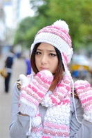 FREE SHIPPING ! Handmade female winter stripe knitted hat knitted scarf gloves thickening thermal piece set