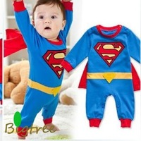free shipping ! Superman rompers Long sleeve baby rompers cotton with Embroidery good quality infant clothing with cloak