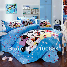 Cartoon 5pc minnie mickey mouse bedding sets,quilt +Duvet sets in a bag,king/queen/twin size mickey and minnie mouse duvet quilt(China (Mainland))