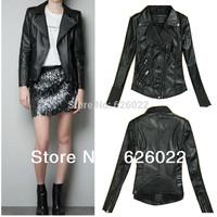 2013 ZA Women Notched Lapel Embossing pattern PU Leather slim fit Punk Rock Jacket Motorcycle Jacket Free Shipping