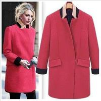 Gossip Girl fashion ladies elegant casual medium-long stand collar color block decoration wool black red coat outerwear&coat