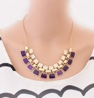 Min Mix Order $15 FreeShipping 2013 New Enamel Metal Necklace Fashion Jewelry Double Layer Elegant Neacklace Wholesales