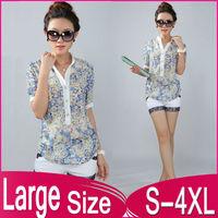 2014 New Large Size Women's Summer Fashion irregular Floral collar Short-sleeved Chiffon shirt S-4XL/XXXL/XXXXL Free Shipping